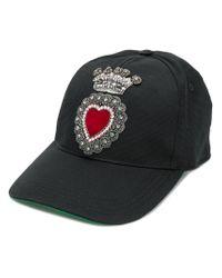 Dolce & Gabbana - Black Heart Applique Baseball-style Hat for Men - Lyst