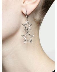 Rosa De La Cruz - Metallic Burnished Gold And Brown Diamond Star Earrings - Lyst