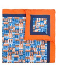 Kiton - Blue Windows Print Scarf for Men - Lyst