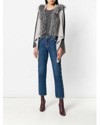 Fabiana Filippi - Gray Fur Trimmed Knitted Vest - Lyst