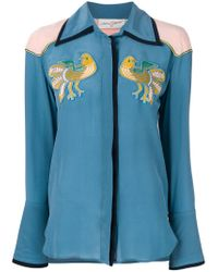 Antonia Zander - Blue Shirt With Bird Embroidered Patches - Lyst