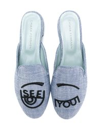 Chiara Ferragni - Blue Embroidered Mules - Lyst