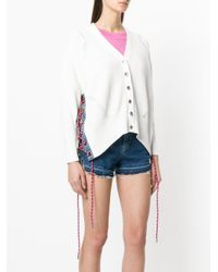 DIESEL - White Tied Sleeve V-neck Cardigan - Lyst