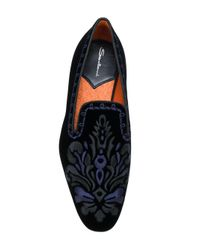 Santoni - Black Embroidered Velvet Loafers - Lyst