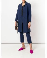 Theory - Blue Single Breasted Coat - Lyst
