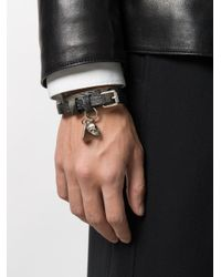Alexander McQueen - Black Double-wrap Skull Bracelet for Men - Lyst