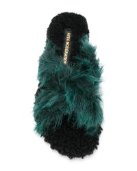 Avec Moderation - Green Faux Fur Crossover Sandals - Lyst