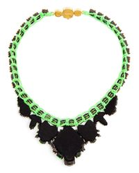 Shourouk - Green Theresa Crystal Embellished Necklace - Lyst