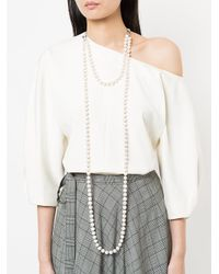 Night Market - White Tassel And Pearl Layered Necklace - Lyst