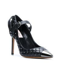 Valentino - Black Quilted Ankle Strap Pumps - Lyst