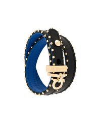 Ferragamo - Black Gancini Wrap Bracelet - Lyst