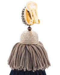Oscar de la Renta - Gray Long Silk Tiered Tassel Earrings - Lyst