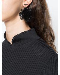 Tuleste - Black Pom Pom Drop Earrings - Lyst