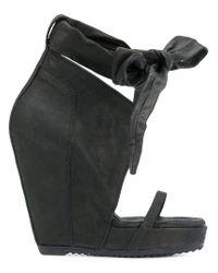 Rick Owens - Black Bow Wedge Sandals - Lyst