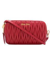 Miu Miu Red Pleated Shoulder Bag