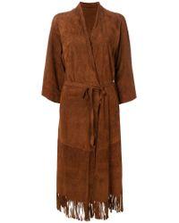 Salvatore Santoro Brown Belted Fringe Coat