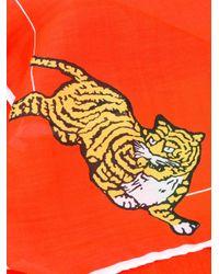 KENZO - Orange Tiger Logo Scarf - Lyst