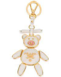 Prada - White Teddy Bear Trick Keyring - Lyst