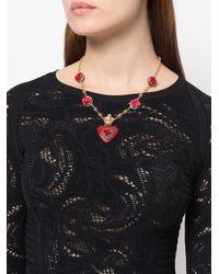 Dolce & Gabbana - Metallic Heart Rose Pendant Necklace - Lyst