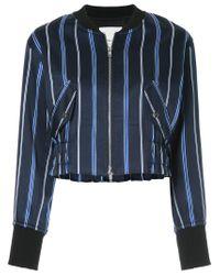 3.1 Phillip Lim - Blue Zipped Striped Bomber Jacket - Lyst