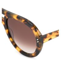 Stella McCartney Brown Rounded Aviator Sunglasses