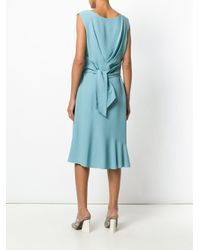 Alberta Ferretti - Blue V-neck Back Tie Midi Dress - Lyst
