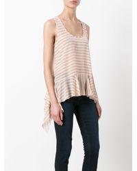 Nude - Pink Striped Soft Peplum Vest - Lyst