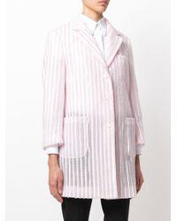Thom Browne - Pink Single Breasted Sack Overcoat In Tulle Seersucker Embroidery - Lyst