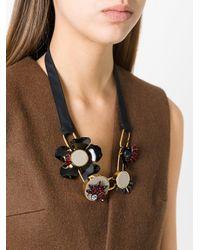 Marni - Black Geometric Petal Necklace - Lyst
