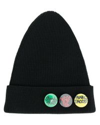 Marc Jacobs - Black Button Badge Beanie for Men - Lyst
