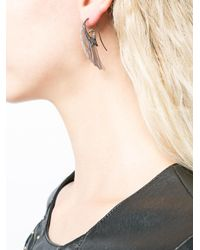 Noor Fares - Black Fly Me To The Moon Wing Earrings - Lyst
