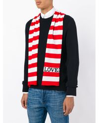 Gucci - Red Striped Scarf With Embroidery for Men - Lyst