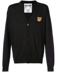 Moschino - Black Bear Crest V-neck Cardigan for Men - Lyst