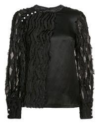 Yigal Azrouël - Black Textured Top - Lyst