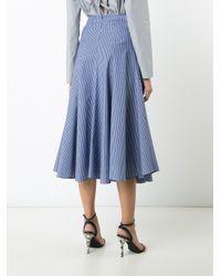 TOME - Blue 'skinny Stripe Godet' Skirt - Lyst