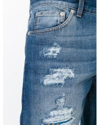 Alexander McQueen - Blue Scarf Detail Distressed Jeans for Men - Lyst
