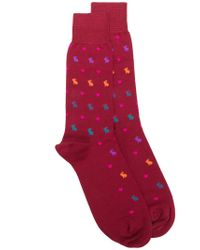 Paul Smith - Red Patterned Socsk for Men - Lyst