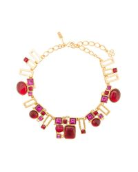 Oscar de la Renta - Red Geometric Pendant Chain Necklace - Lyst
