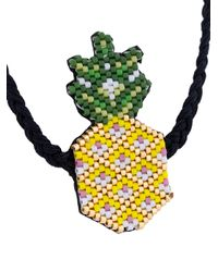 Venessa Arizaga - Black Pineapple Beaded Rope Necklace - Lyst