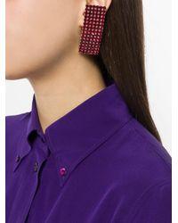 Alessandra Rich - Metallic Curved Rectangular Earrings - Lyst