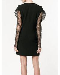 Saint Laurent - Black Contrasting Sleeve Mini Dress - Lyst