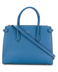 Furla - Blue Classic Logo Tote Bag - Lyst