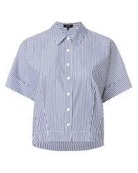 Theory - Blue Striped Short Sleeve Shirt - Lyst