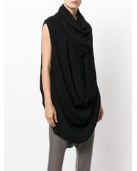 Rick Owens - Black Draped Asymmetric Top - Lyst