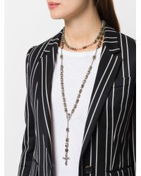 Givenchy - Metallic Rosary Bead Stone Necklace - Lyst