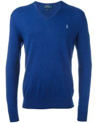 Polo Ralph Lauren - Blue Embroidered Logo Jumper for Men - Lyst