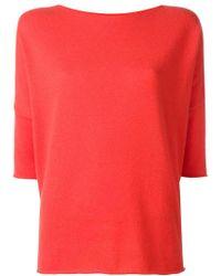 Lamberto Losani - Red Cashmere Three-quarters Sleeve Jumper - Lyst
