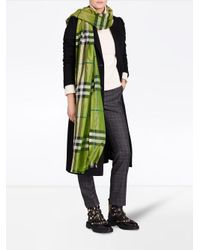 Burberry - Green Metallic Check Scarf - Lyst