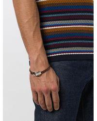 Ferragamo - Brown Braided Gancio Bracelet for Men - Lyst