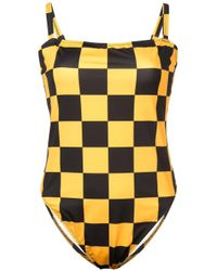 Solid & Striped - Yellow Checkered Malibu One Piece - Lyst
